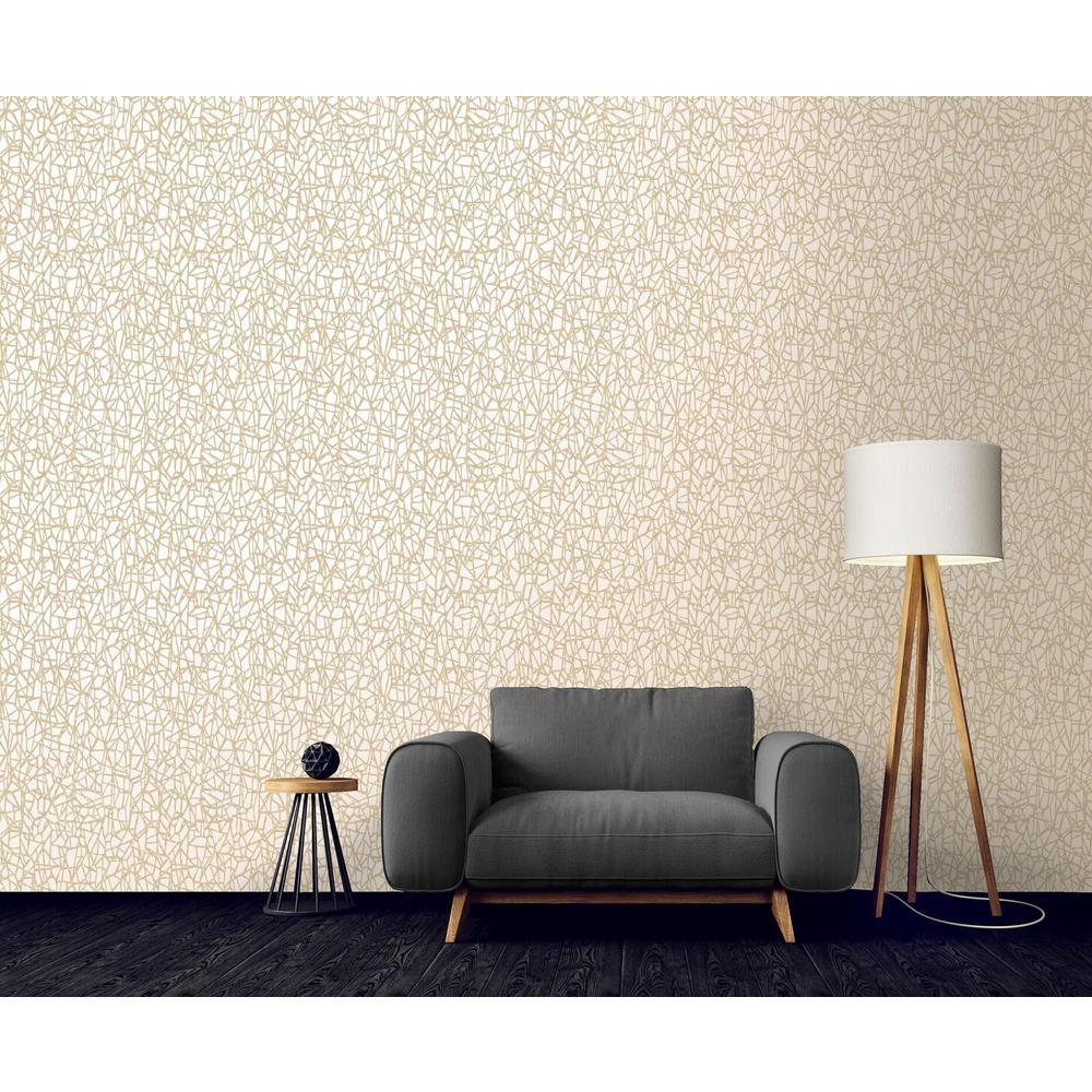 Cream Metallic Web Wallpaper