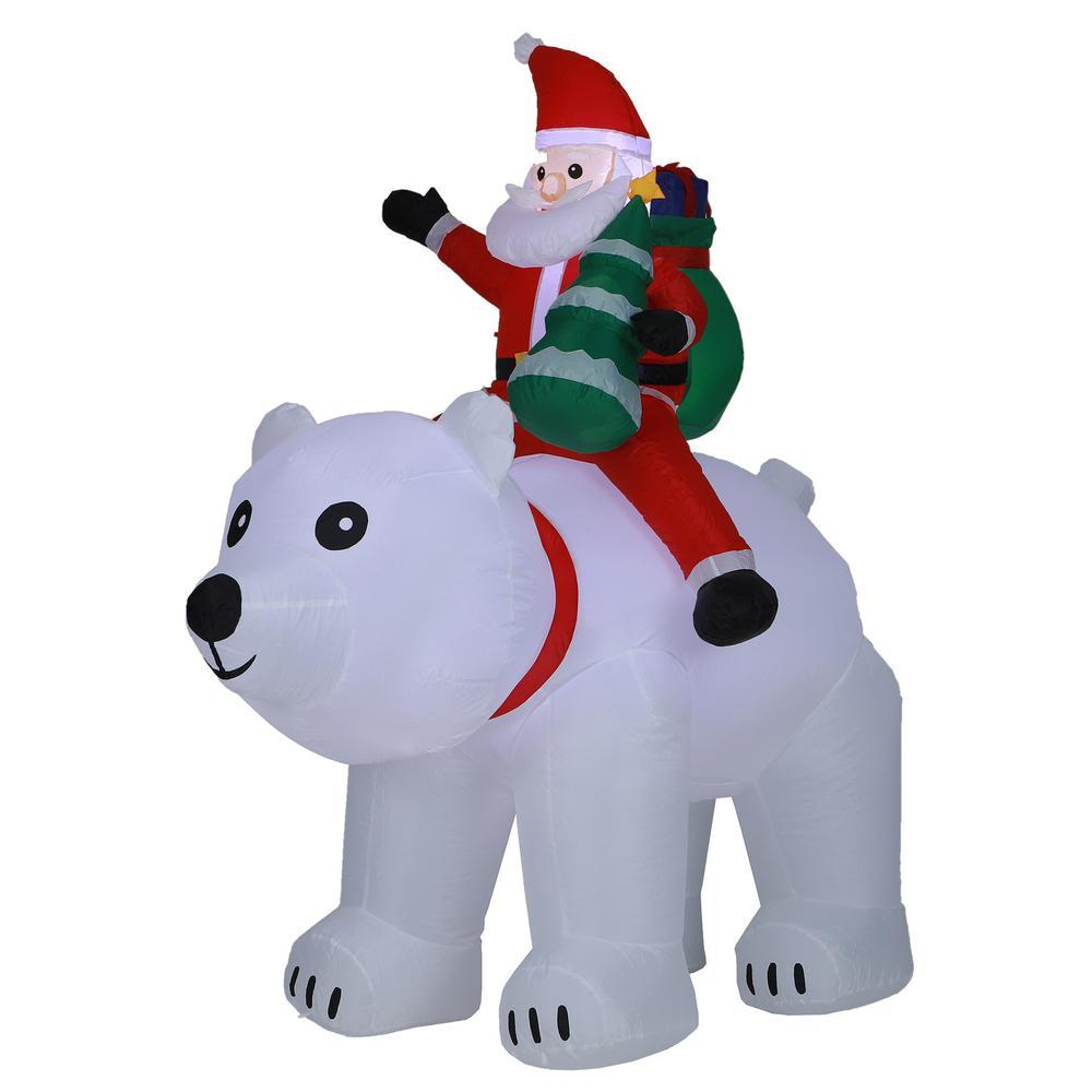 6 ft. Santa and Polar Bear Inflatable with LED Lights