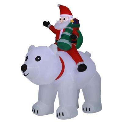 6 ft. Santa and Polar Bear Inflatable with LED Lights