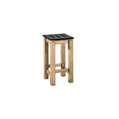 Stillwell 24.8 in. Tall Black and Natural Wood Barstool (Set of 2)