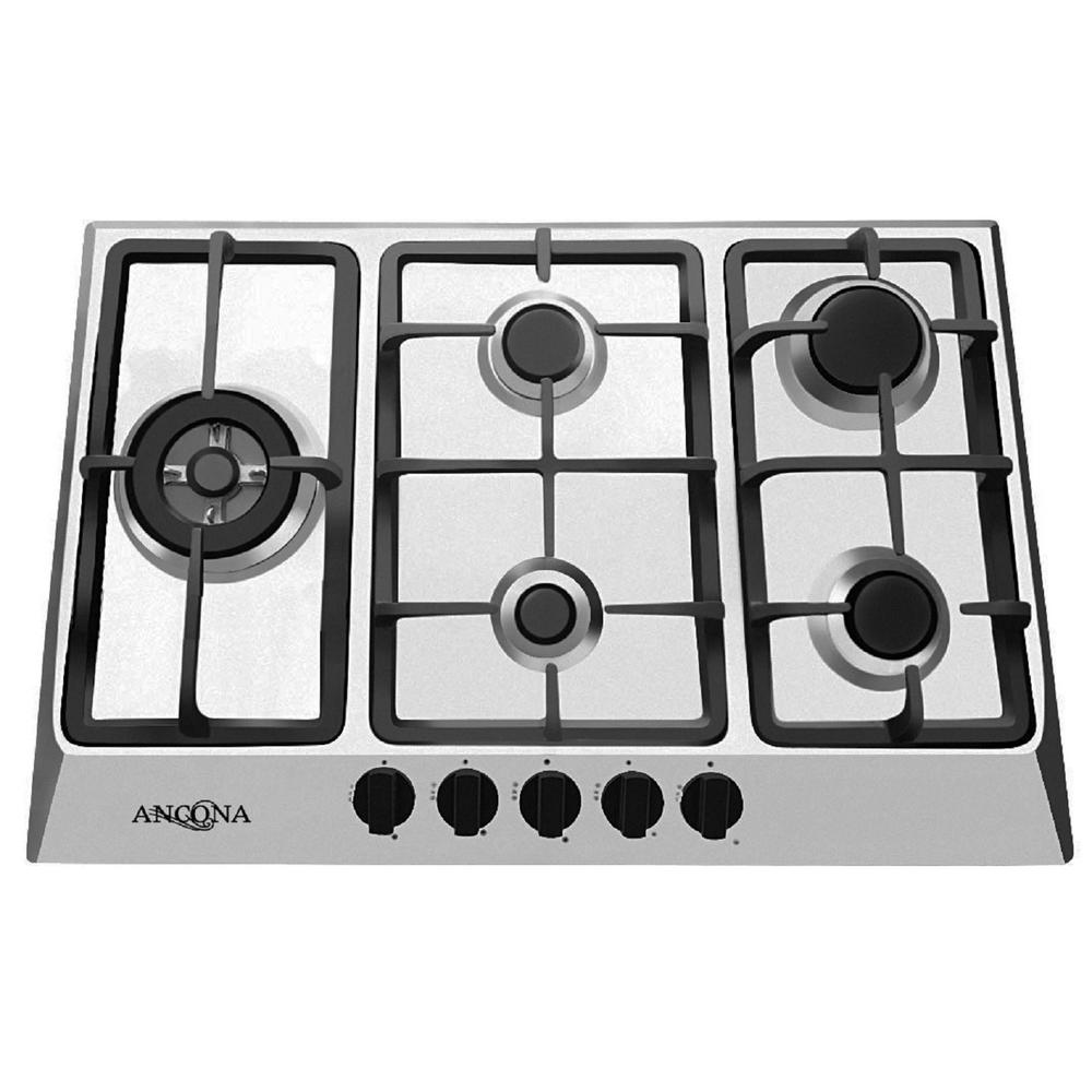5 Burner Gas Cooktops: Ancona 30 In. Gas Cooktop In Stainless Steel With 5