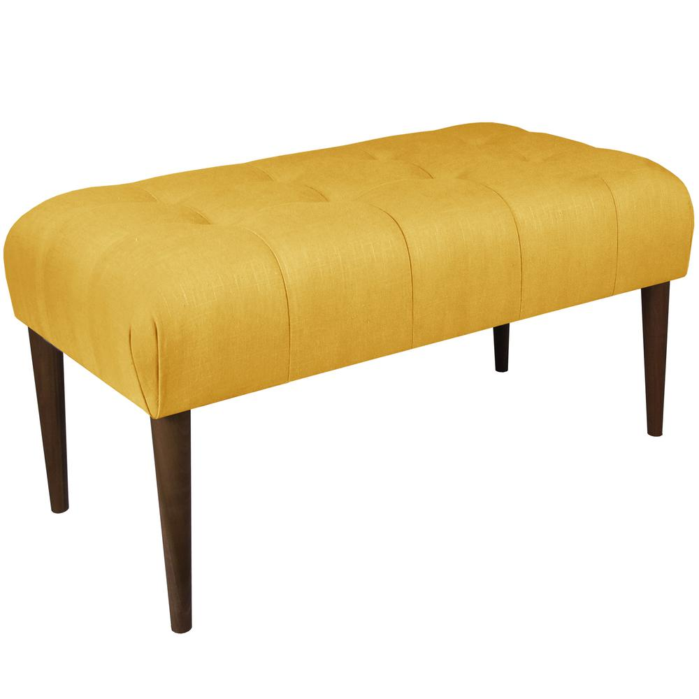 Nice Tufted Linen French Yellow Bench With Cone Legs