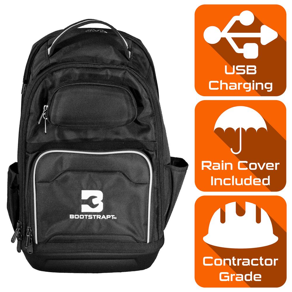 BOOTSTRAPT BOOTSTRAPT 15 in. Contractor's Backpack with Integrated Power Bank Compartment and Waterproof Rain Cover, Black