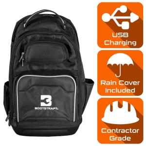 15 in. Contractor's Backpack with Integrated Power Bank Compartment and Waterproof Rain Cover