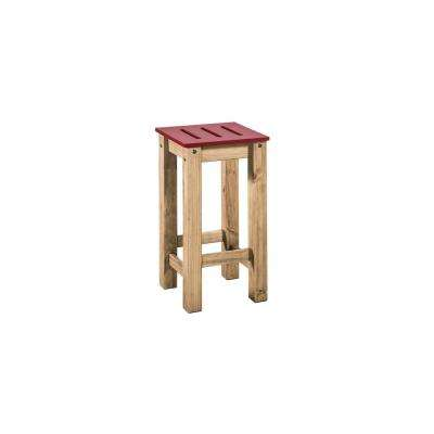Stillwell 24.8 in. Tall Red and Natural Wood Barstool (Set of 2)