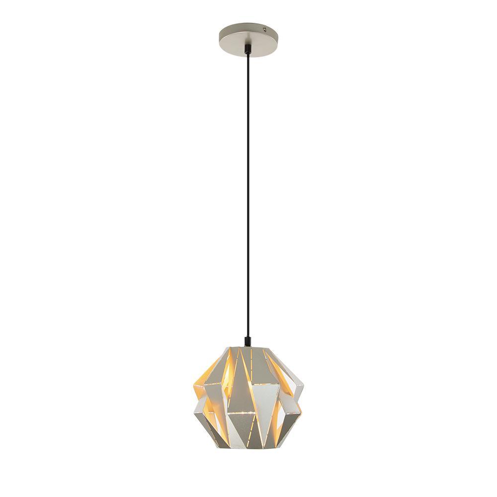 Home Decorators Collection 1-Light Metal Silver Mini Pendant