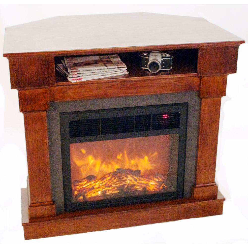 Lifesmart Media Center 1500 Watt Infrared Quartz Portable Heater Fireplace in Quakerstown Dark Oak with Remote-DISCONTINUED