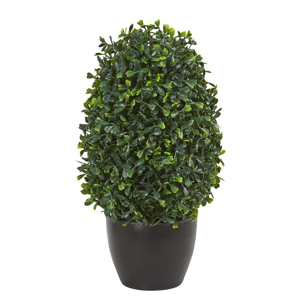 Indoor/Outdoor 13 In. Boxwood Topiary Artificial Plant UV Resistant
