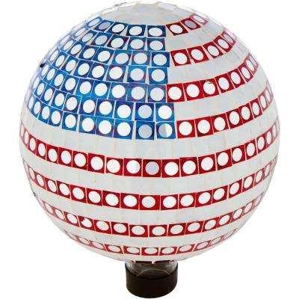 10 in. Mosaic Glass Gazing Mirror Ball (American Flag)