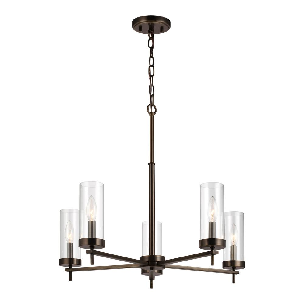 Sea Gull Lighting Zire 5-Light Brushed Oil Rubbed Bronze Chandelier with Clear Glass Shades with Dimmable Candelabra LED Bulb