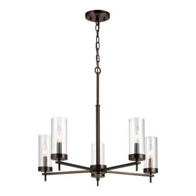 Zire 5-Light Brushed Oil Rubbed Bronze Chandelier with Clear Glass Shades with Dimmable Candelabra LED Bulb
