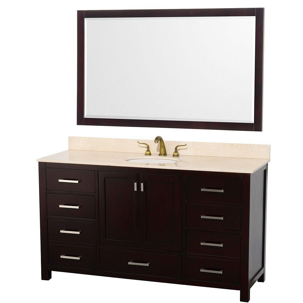 Wyndham Collection Abingdon 61 in. Vanity in Espresso with Marble Vanity Top in Ivory and Mirror-DISCONTINUED