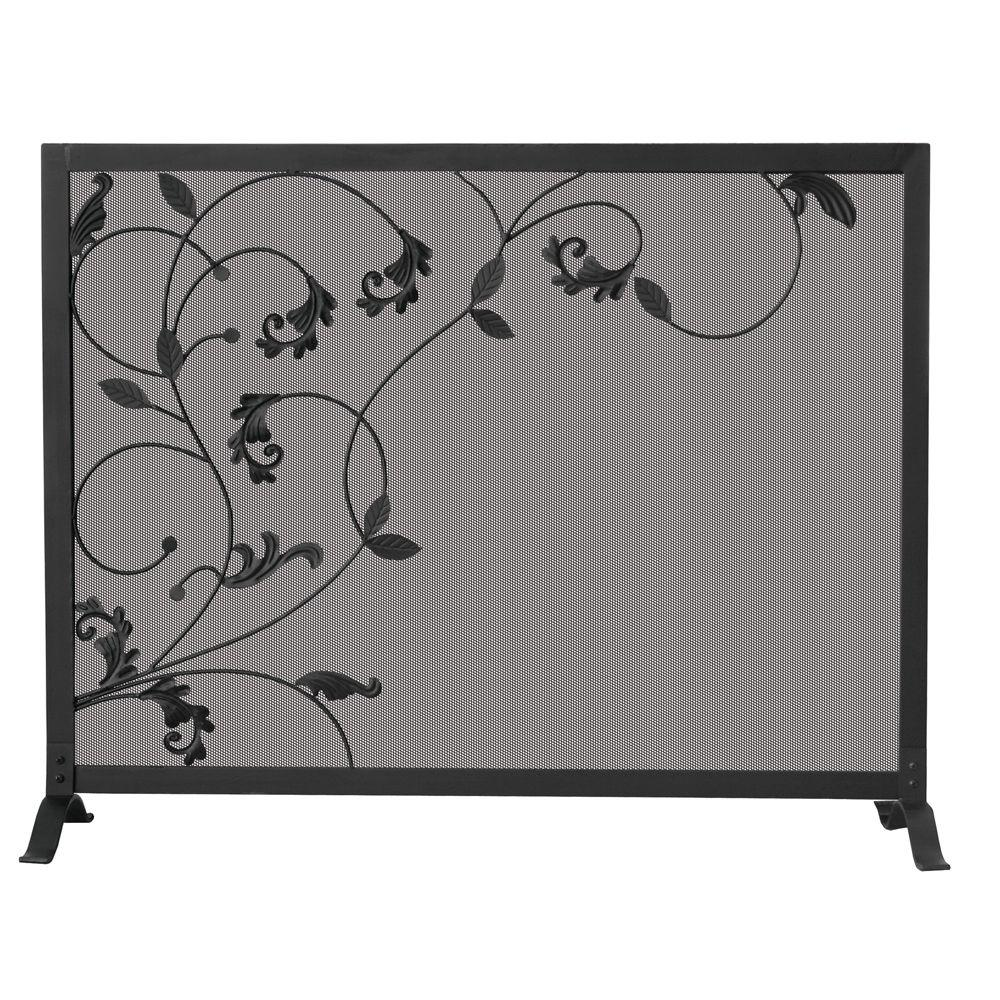 UniFlame Black Wrought Iron Single Panel Fireplace Screen With Flowing Leaf  Design S 1043   The Home Depot