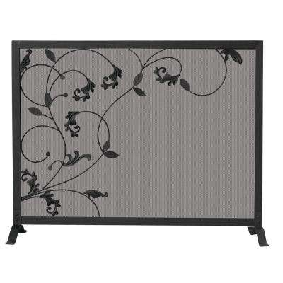 Black Wrought Iron Single-Panel Fireplace Screen with Flowing Leaf Design