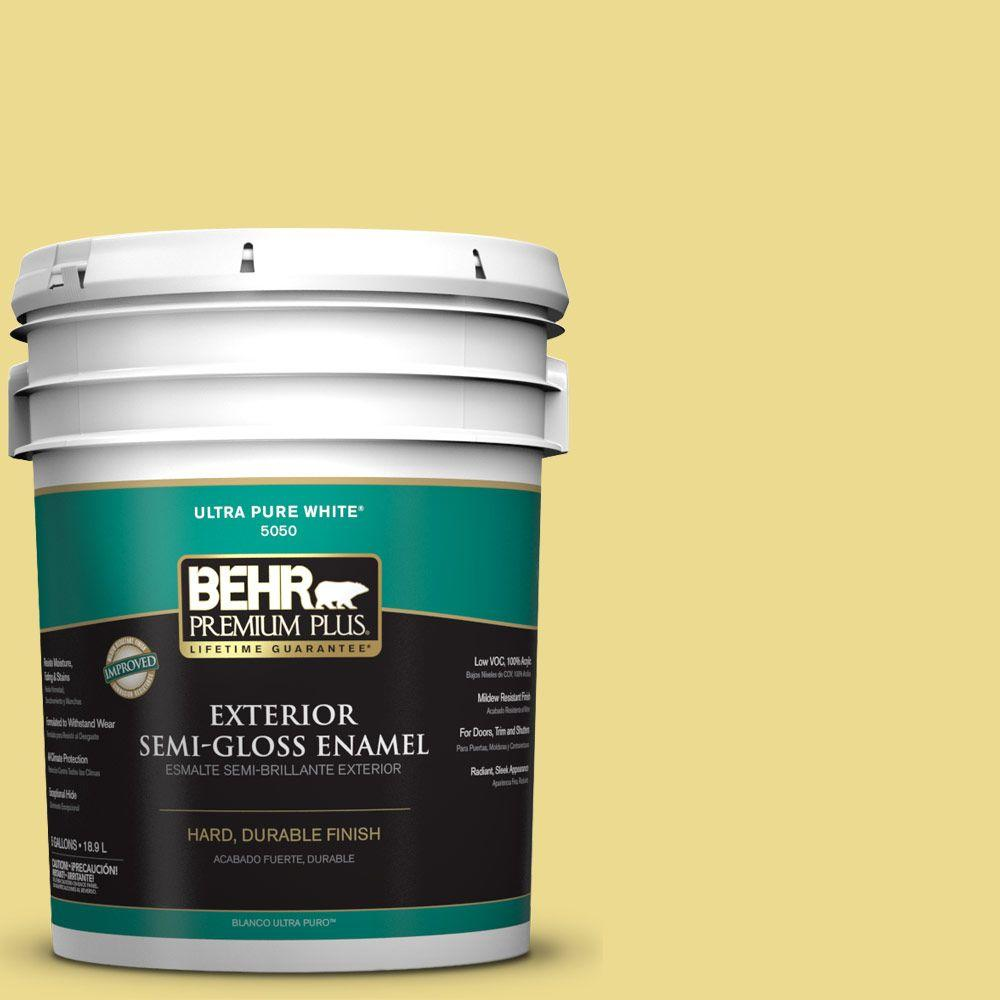 BEHR Premium Plus 5-gal. #P320-4 Pineapple Crush Semi-Gloss Enamel Exterior Paint