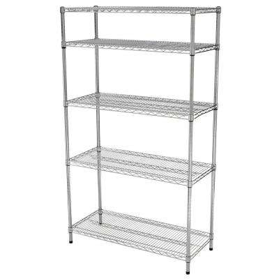 5 Shelf 72 in. H x 42 in W x 18 in. D Wire Unit in Chrome