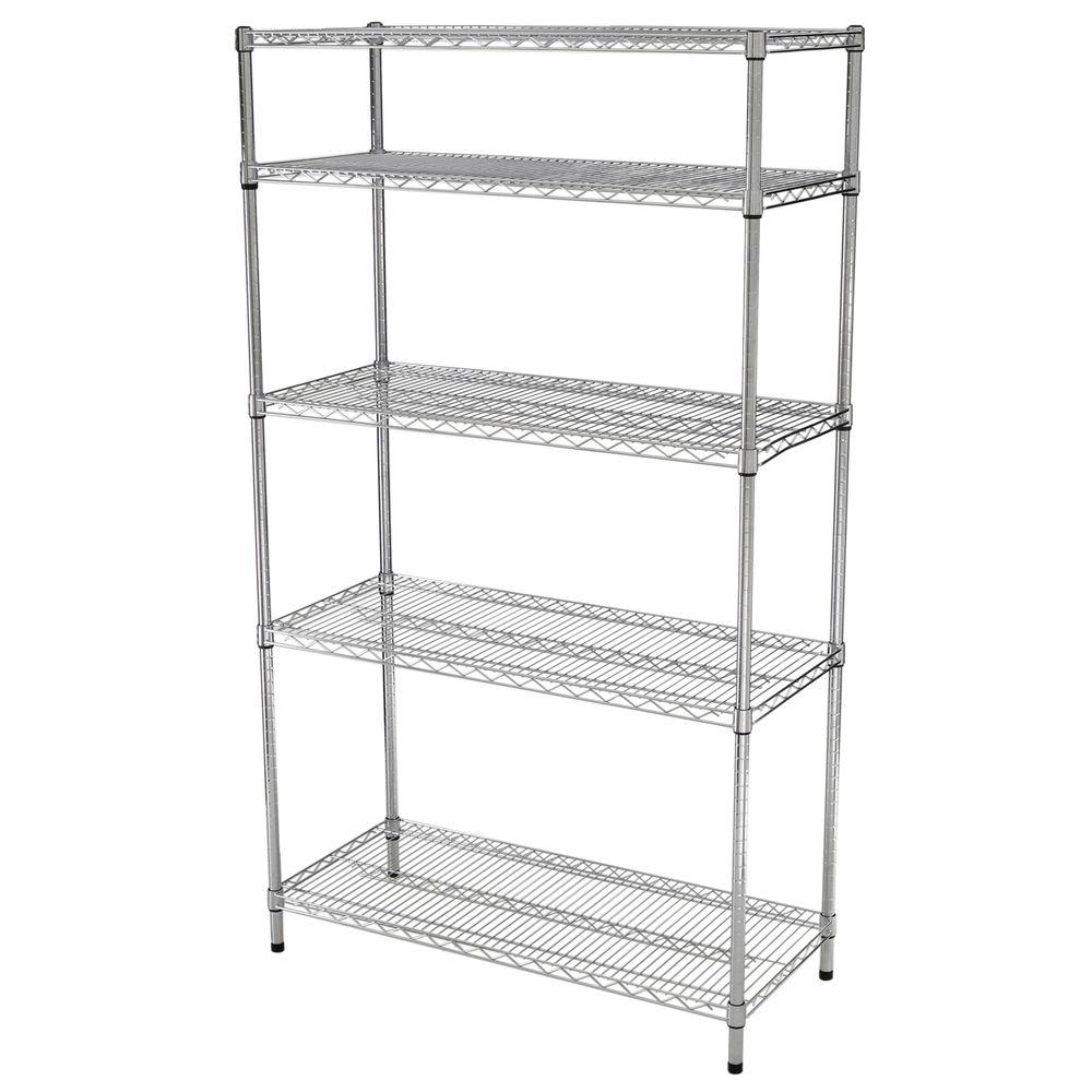 HDX 5 Shelf 72 in. H x 42 in W x 18 in. D Wire Unit in Chrome