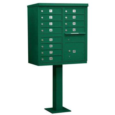Green USPS Access Cluster Box Unit with 12 A Size Doors and Pedestal