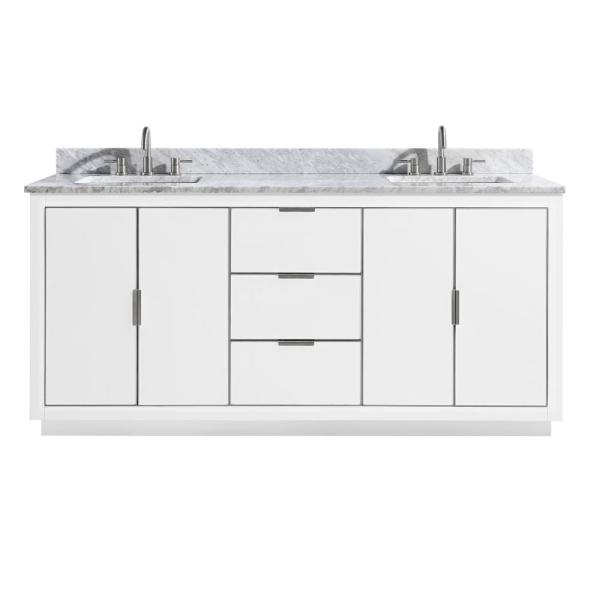 Austen 73 in. W x 22 in. D Bath Vanity in White/Silver Trim with Marble Vanity Top in Carrara White with White Basins