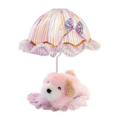 Designer Collection 18 in. Pink Puppy Table Lamp with Pink Fabric Shade