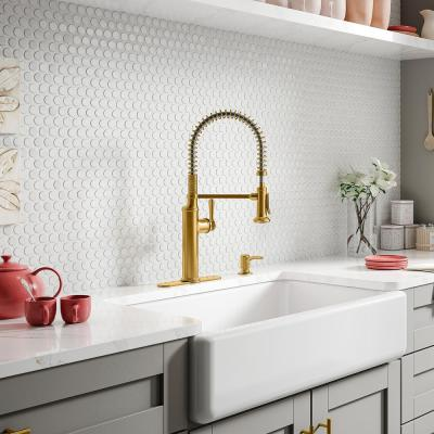 Sous Single-Handle Semi-Professional Kitchen Faucet in Vibrant Brushed Moderne Brass