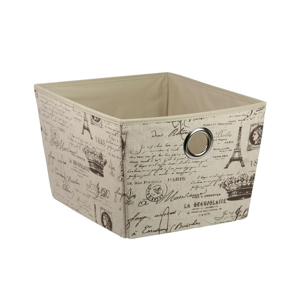Home Basics 15 in. x 11.75 in. x 9.25 in. Paris Storage Box