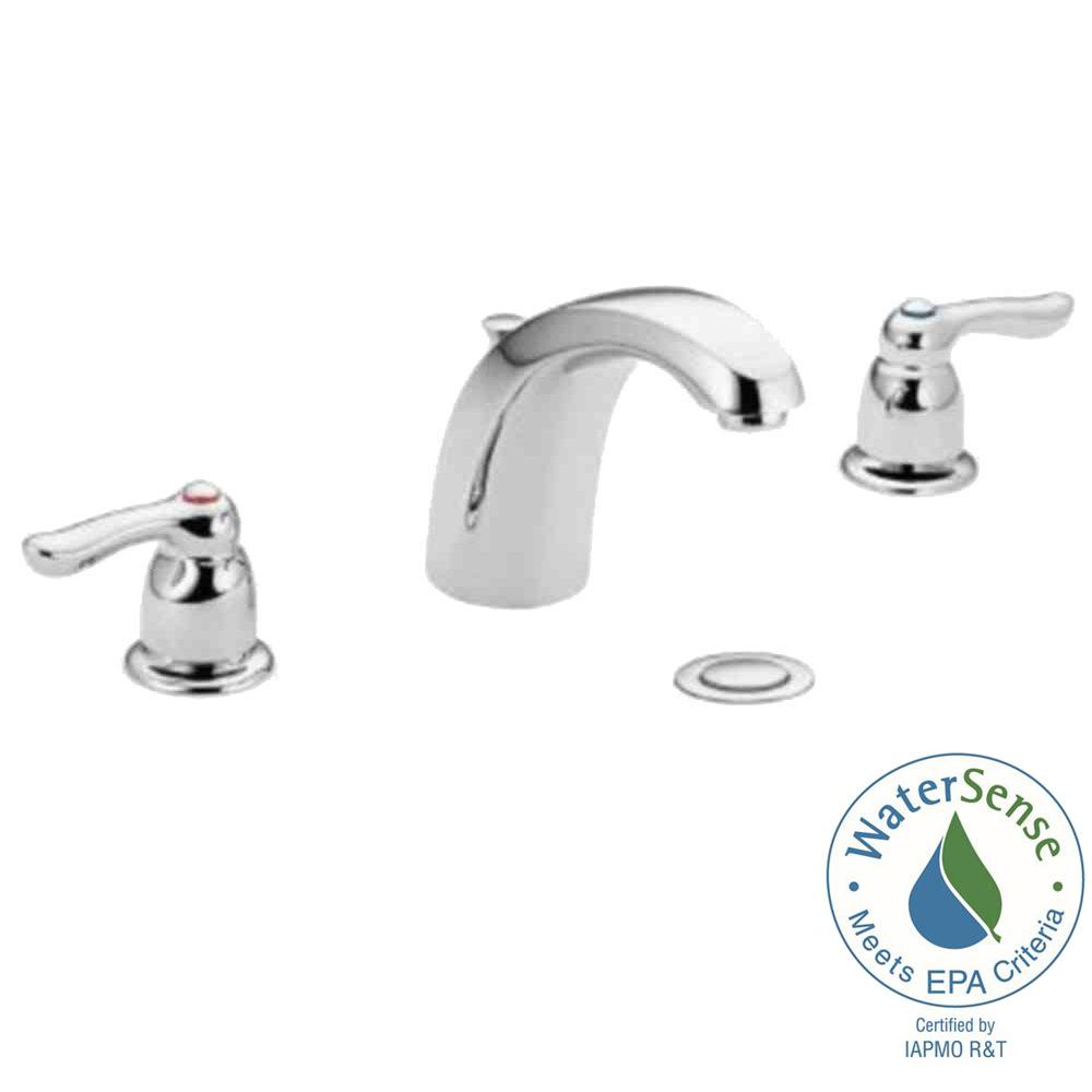 Superior MOEN Chateau 8 In. Widespread 2 Handle Low Arc Bathroom Faucet In Chrome  With Drain Assembly 4945   The Home Depot