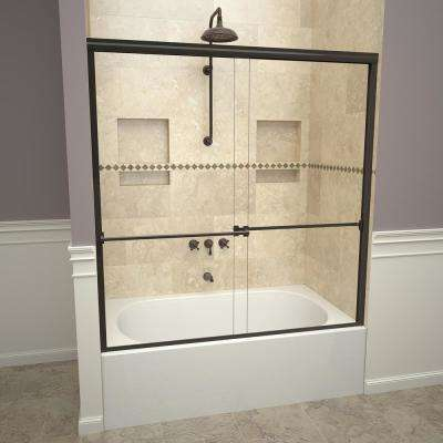 1000 Series 60 in. W x 57 in. H Semi-Frameless Sliding Tub Doors in Oil Rubbed Bronze with Towel Bar and Clear Glass
