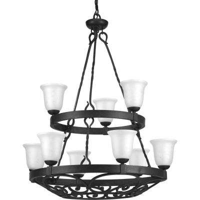 Enclave Collection 9-Light Gilded Iron Chandelier with Textured Glass Shade
