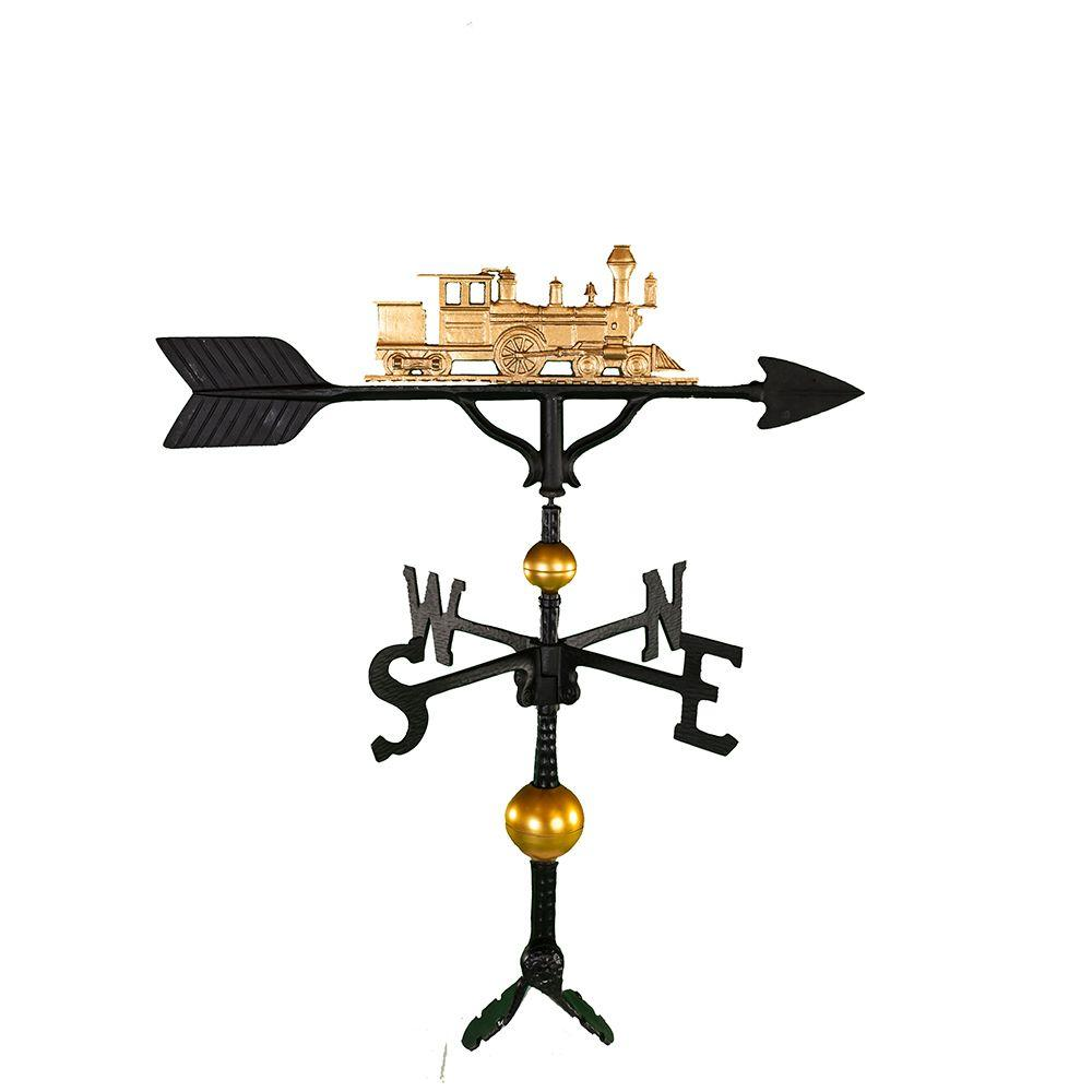 Montague Metal Products 32 in. Deluxe Gold Train Weathervane Montague Metal Products hand crafted weathervanes are of the highest quality. These fully functional weathervanes are cast of rust free aluminum and finished with weather resistant paint to insure a lifetime of enjoyment. The standard adjustable clutch base makes installation quite easy. Flat bases and threaded masts are also available as an additional option.