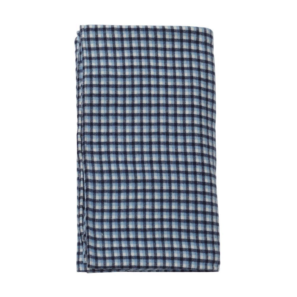 Washable Wool Blue Plaid Throw