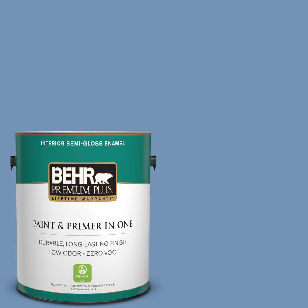 1-gal. #580D-5 Ocean Ridge Zero VOC Semi-Gloss Enamel Interior Paint