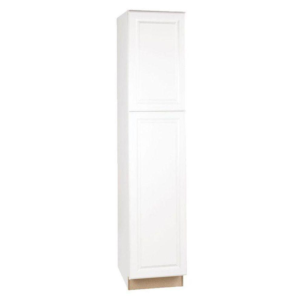Hampton bay hampton assembled 18 x 84 x 24 in pantry utility kitchen cabinet in satin white - White kitchen storage cabinet ...