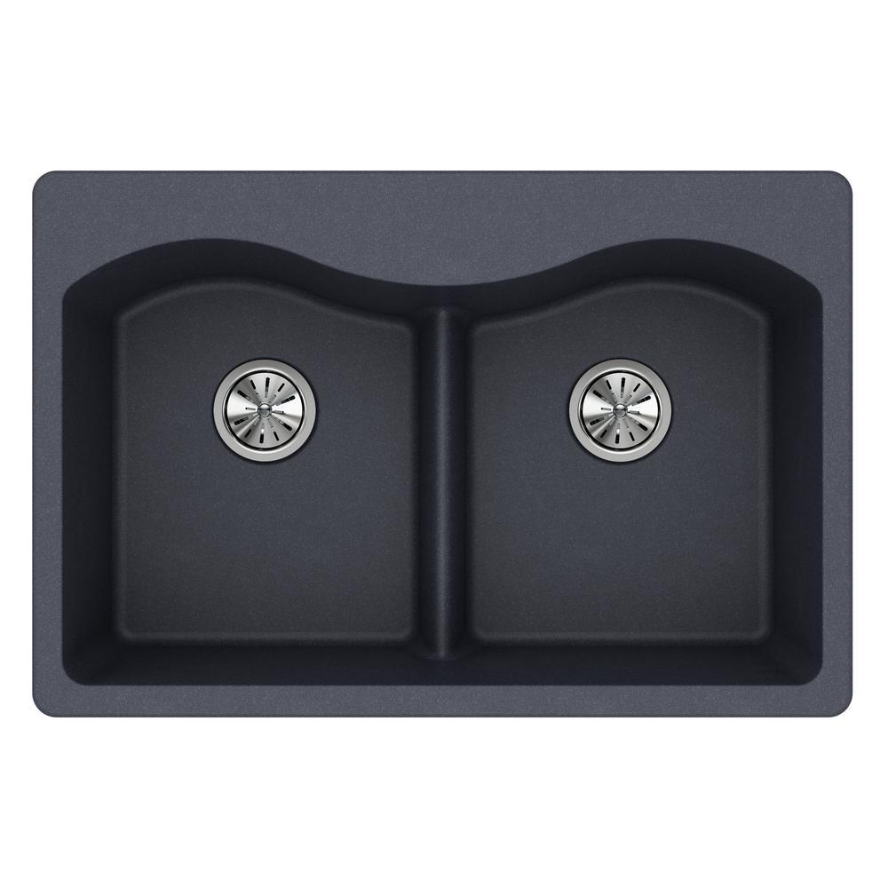 Quartz Classic Drop In Composite 33 In. Double Bowl Kitchen Sink In