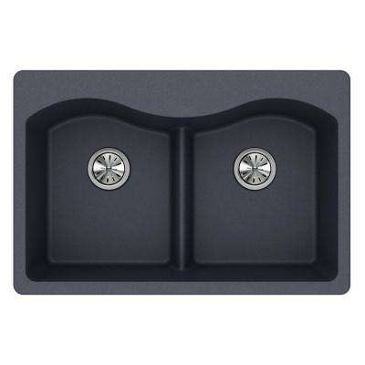 Quartz Classic Drop-In Composite 33 in. Rounded 50/50 Double Bowl Kitchen Sink in Dusk Gray