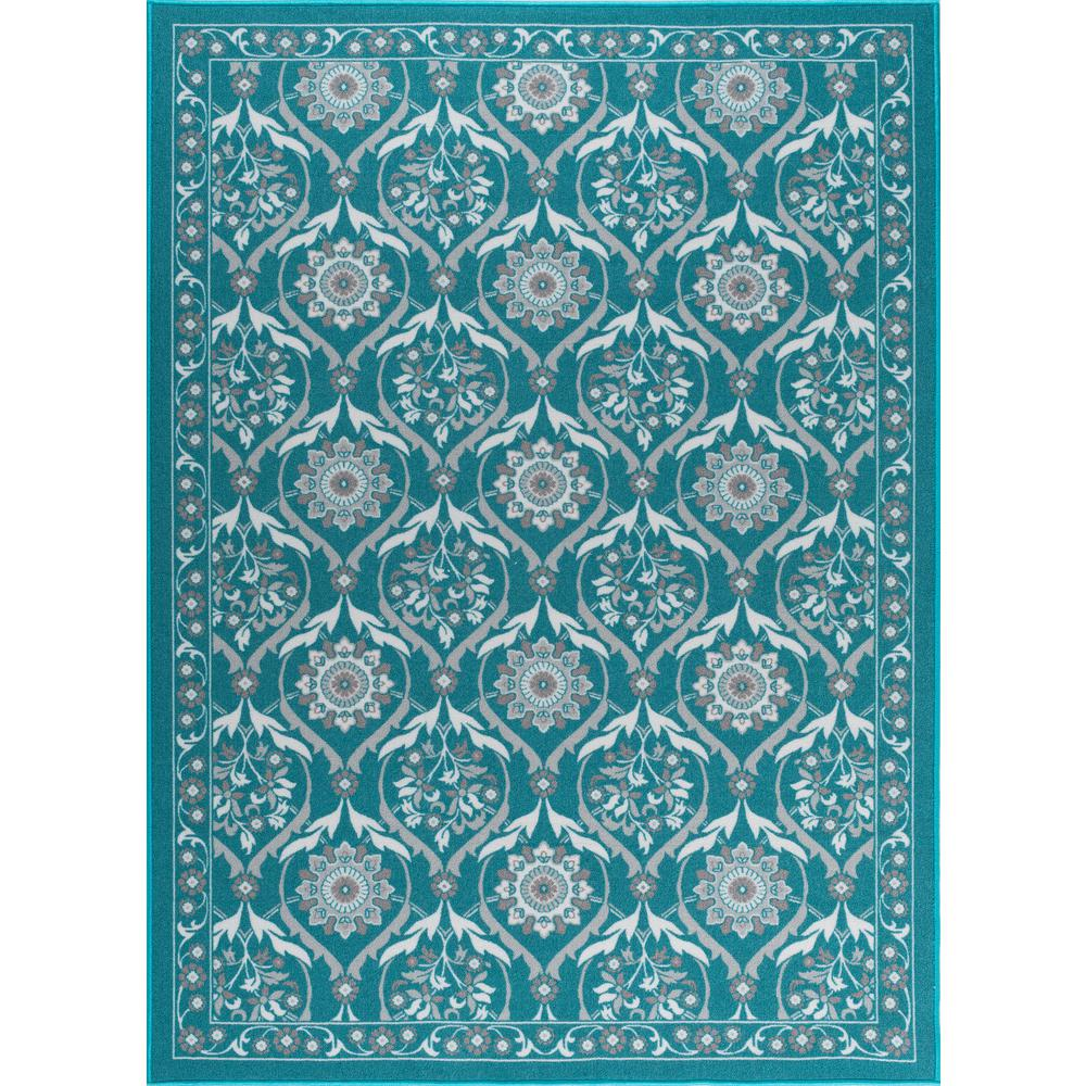 Tayse Rugs Majesty Teal 5 Ft X 7 Ft Transitional Area