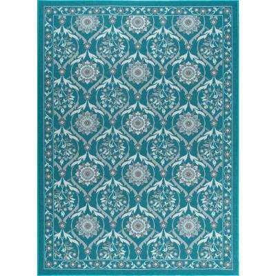 Majesty Teal 6 ft. 7 in. x 9 ft. 6 in. Transitional Area Rug