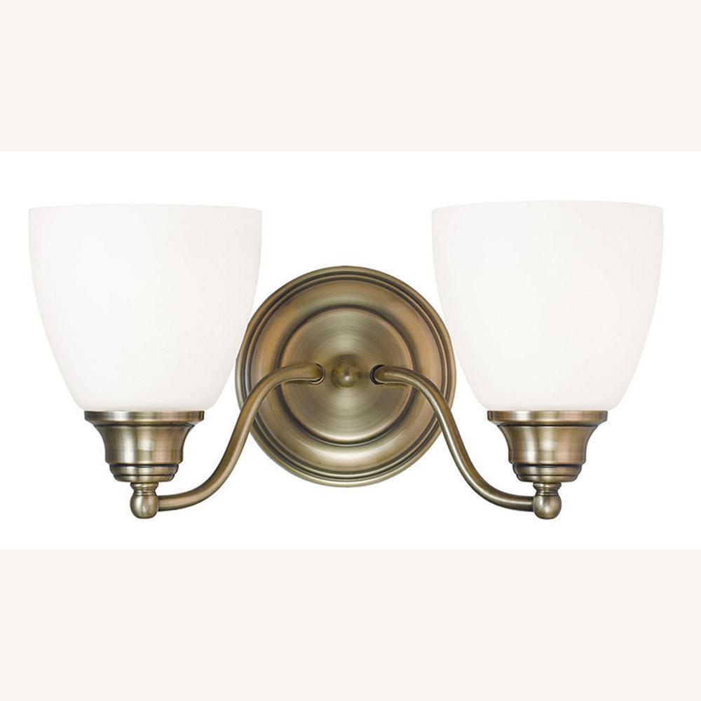 Somerville 2-Light Antique Brass Bath Light - Brass - Vanity Lighting - Lighting - The Home Depot