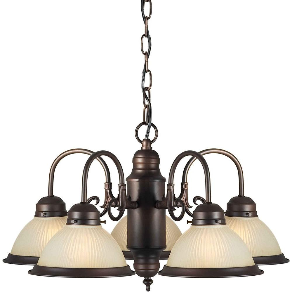 Illumine 5 Light Chandelier Antique Bronze Finish Shaded Umber Glass-DISCONTINUED