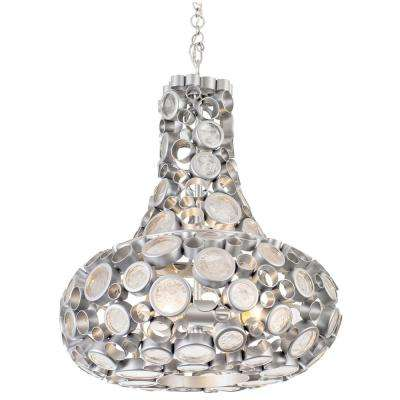 Varaluz Fascination 4-Light Metallic Silver Carafe Pendant with Recycled Clear Glass by Carafes