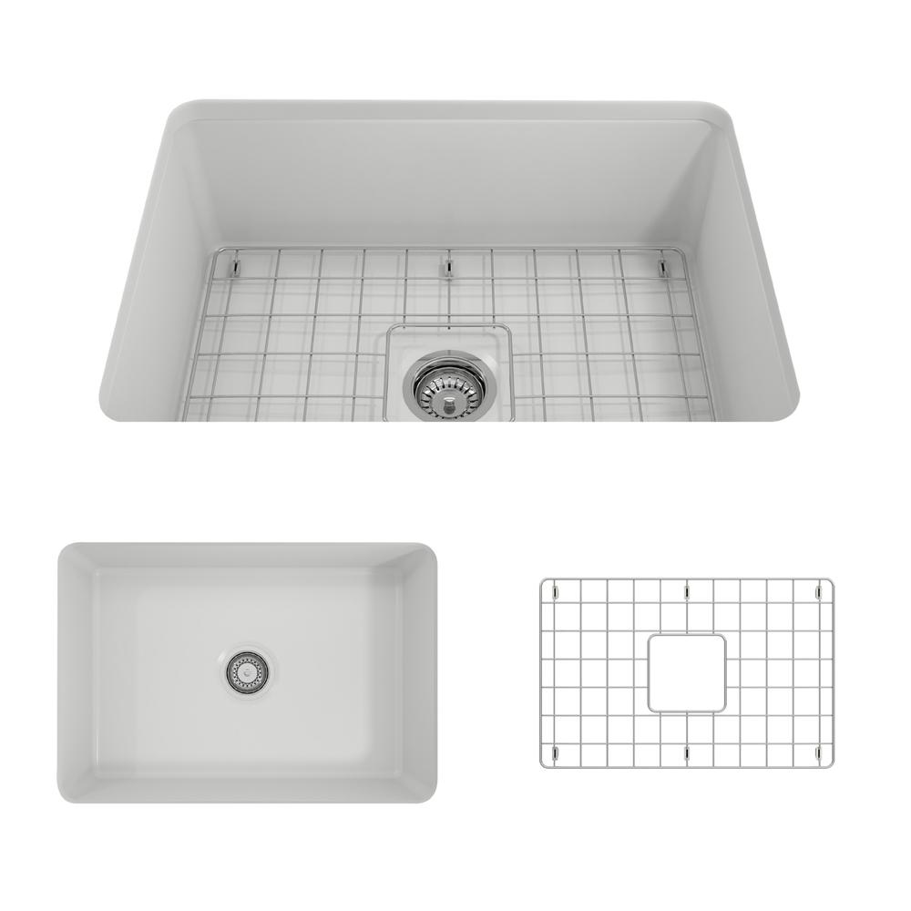 bocchi sotto undermount fireclay 27 in  single bowl kitchen sink with bottom grid and strainer bocchi sotto undermount fireclay 27 in  single bowl kitchen sink      rh   homedepot com