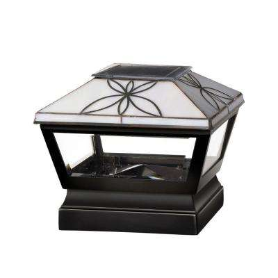 5 in. x 5 in. Vinyl Solar Light Pearl Top Pyramid Post Cap with Black Base