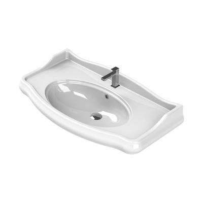 Traditional Wall Mounted Bathroom Sink in White
