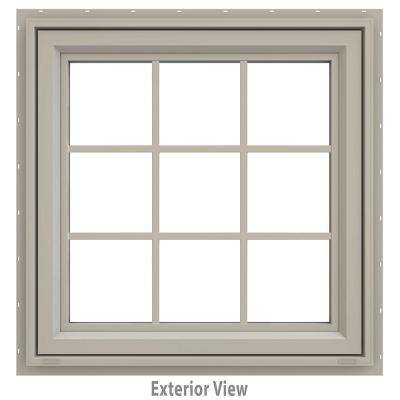 35.5 in. x 35.5 in. V-4500 Series Desert Sand Painted Vinyl Awning Window with Colonial Grids/Grilles