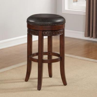 Conrad 26 in. Cherry Backless Swivel Counter Stool