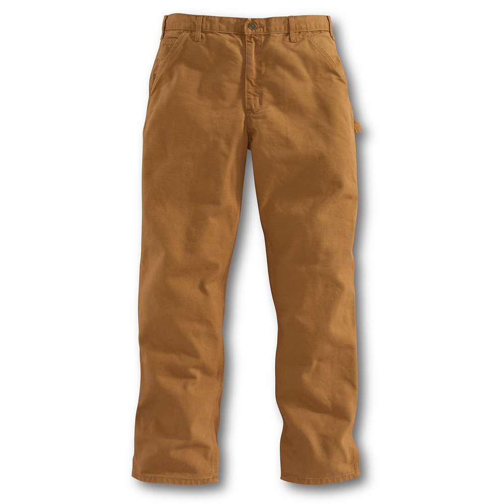 Men's 34x30 Carhartt Brown Cotton Straight Leg Non-Denim Bottoms