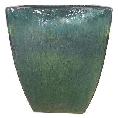 16 in. Green Ceramic Bayshore Square Pot