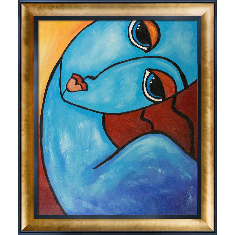 ArtistBe Picasso by Nora, Feeling Blue with Gold Luminoso and Black Custom Stacked Frameby Nora Shepley Canvas Print, Multi-color was $1022.01 now $496.73 (51.0% off)