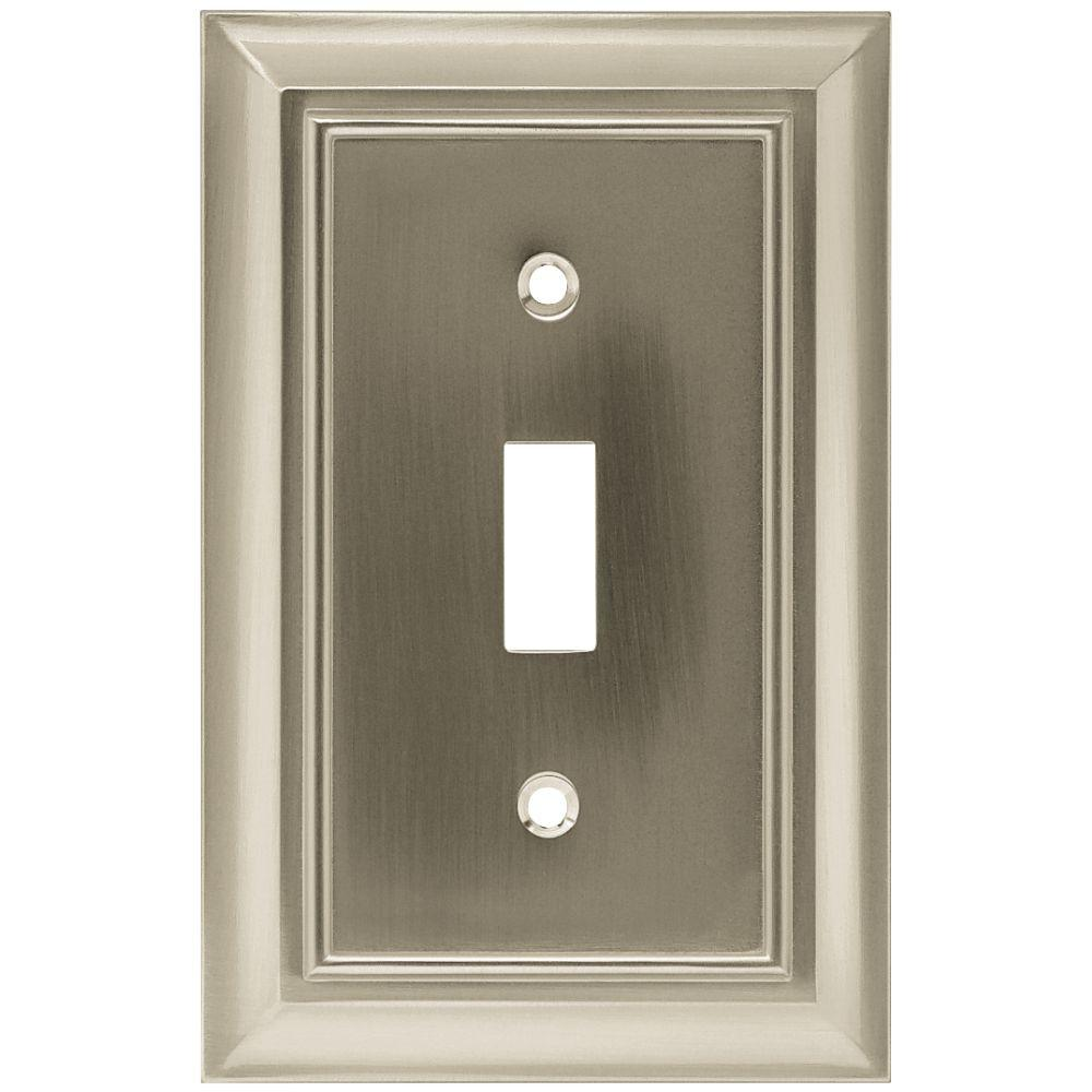 Hampton Bay Architectural Decorative Single Switch Plate Satin