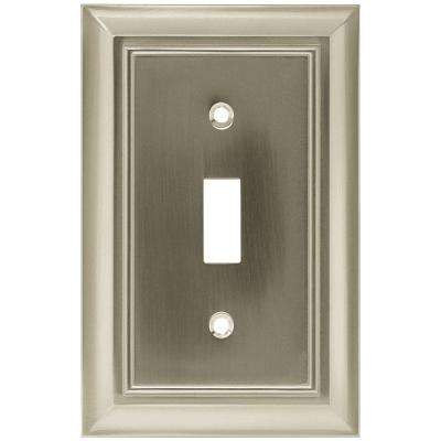 Architectural Decorative Single Switch Plate, Satin Nickel